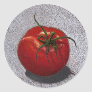 BIG RED TOMATO ART ROUND STICKER
