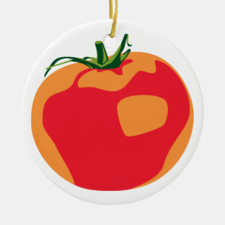 Big Red  Tomato Round Ceramic Decoration