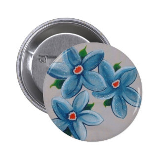 Big Red White Blue Flowers Buttons