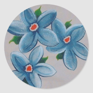 Big Red White Blue Flowers Stickers