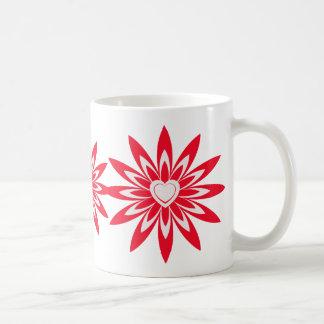 Big red & white flower with heart coffee mug