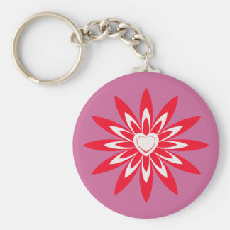 Big red & white flower with heart basic round button key ring