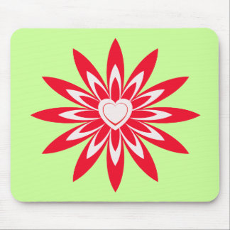 Big red & white flower with heart mouse pad