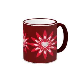 Big red & white flower with heart coffee mugs