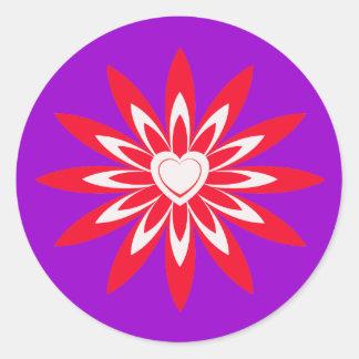 Big red & white flower with heart round sticker