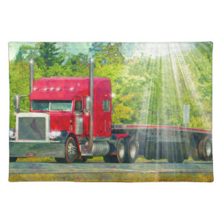 Big Rig Red Truck Heavy Transport Vehicle Placemat