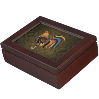 Big Rooster On The Country Farm Deco Ranch Art Keepsake Box