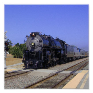 Big Sante Fe Locomotive at Poinsettia Poster