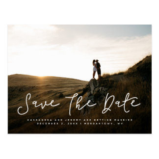 Big script save the date photo postcard
