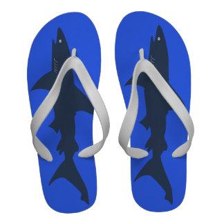 Big Shark Funny Blue Swimmer or Scuba Diver s Flip-Flops