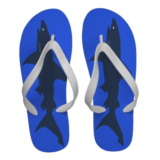Big Shark Funny Blue Swimmer or Scuba Diver's Flip-Flops