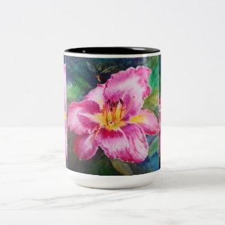 Big Shiny Pink Flower Two-Tone Mug