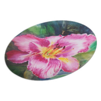 Big Shiny Pink Flower Party Plate