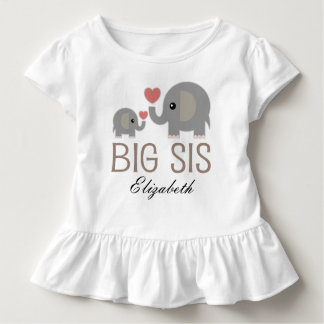 Big Sis Girls Cute Elephant Personalized T-shirt