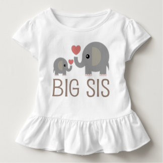 Big Sis Girls Cute Elephants Ruffle T-shirt