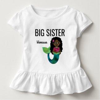Big Sister African American Mermaid Faux Foil Girl Toddler T-Shirt