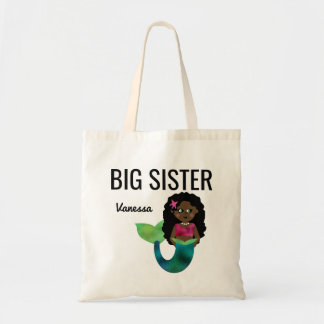Big Sister African American Mermaid Girl Faux Foil Tote Bag