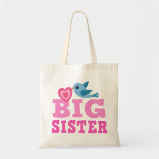 Big sister bag with cute cartoon bird and heart