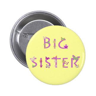 Big Sister, butterflies & flowers 6 Cm Round Badge