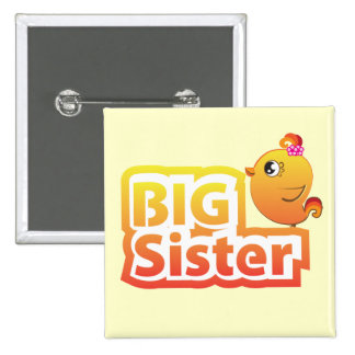 Big sister cute baby chicken bird button