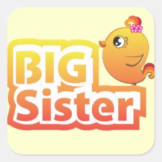 Big sister cute baby chicken bird sticker