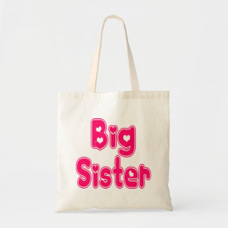 BIG SISTER Cute Sibling Pink Word Text Tote Bag