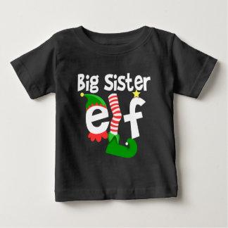 Big Sister Elf Christmas Baby T-Shirt