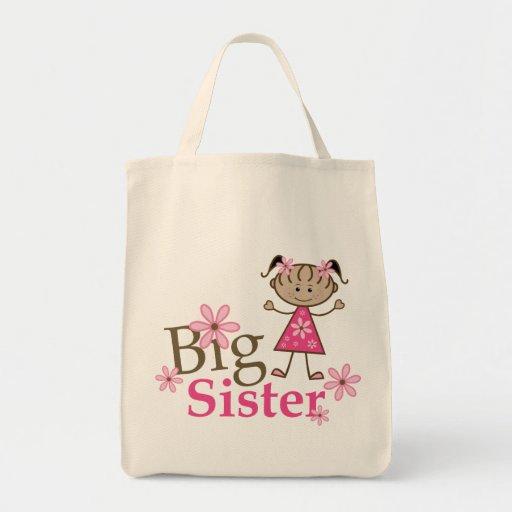 Big Sister Ethnic Stick Figure Girl Canvas Bag