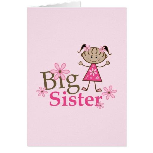 Big Sister Ethnic Stick Figure Girl Greeting Card