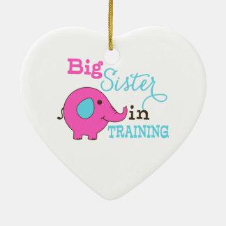 Big Sister in Training Elephant Ceramic Heart Decoration