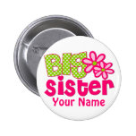 Big Sister Lime Green Pink Personalised Button