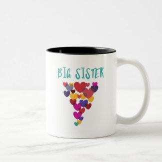 Big Sister Love Floating Hearts Two-Tone Coffee Mug