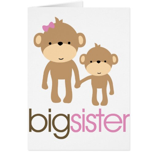 Big Sister Monkey Pregnancy Announcement T-shirt Cards