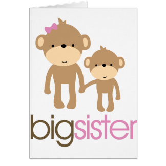 Big Sister Monkey Pregnancy Announcement T-shirt Greeting Card