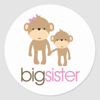 Big Sister Monkey Pregnancy Announcement T-shirt Round Sticker