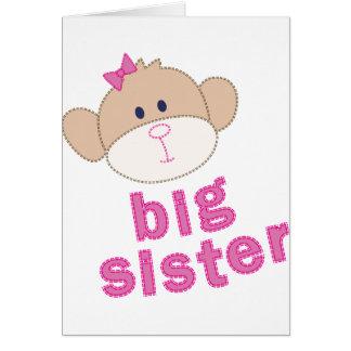 Big Sister monkey T-shirt Greeting Card