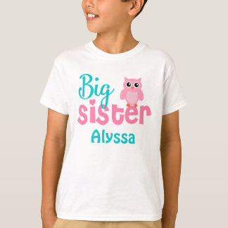 Big Sister Owl Pink Teal Personalised shirt