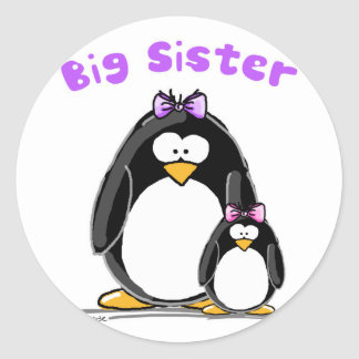 Big sister Penguin Round Sticker
