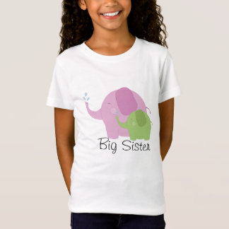 Big Sister Pink and Green Elephant Girls Tee