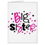 BIG SISTER pink black polkadot Cards