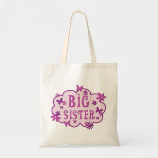Big Sister Pink Flower Butterfly Tote Canvas Bag