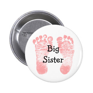 """Big Sister"" Pink Footprints White and Pink Button"