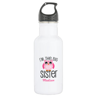 Big Sister Pink Owl Personalized 532 Ml Water Bottle