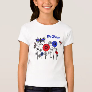 Big Sister, red, blue, white dragonflies, flowers Tee Shirts