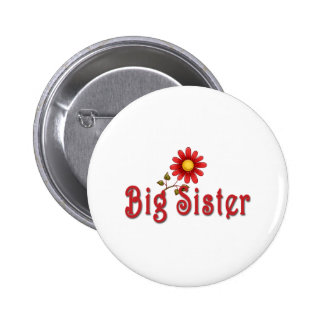 Big Sister Red Flower Button