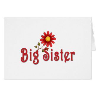 Big Sister Red Flower Greeting Cards