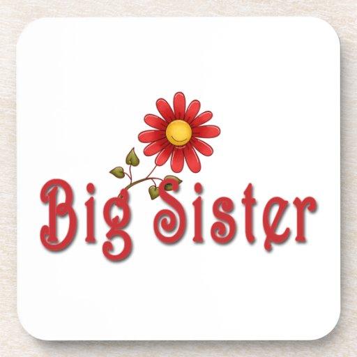 Big Sister Red Flower Beverage Coaster