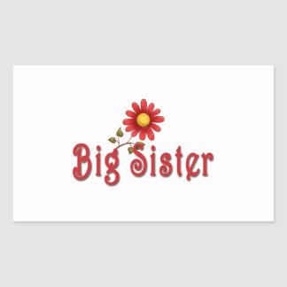 Big Sister Red Flower Rectangle Stickers
