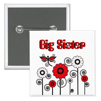 Big Sister, red & white flowers, dragonfly button