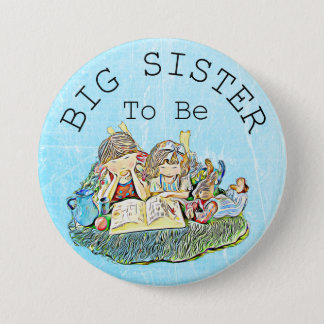 Big Sister to be Baby Shower Button